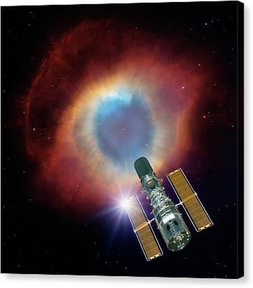 Hubble And Helix Nebula Canvas Print by Nasa,wiyn,noao,esa,hubble Helix Nebula Team,m. Meixner (stsci), & T. A. Rector (nrao)/detlev Van Ravenswaay