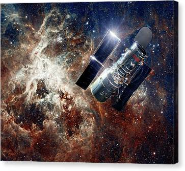 Hubble Space Telescope Canvas Print by Nasa, Esa, And D. Lennon (esa/stsci)/detlev Van Ravenswaay