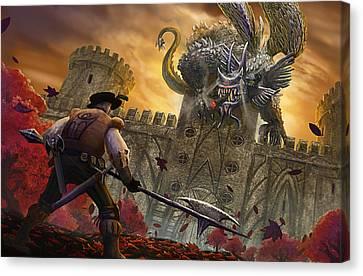 Hubert And The Smoking Dragon Canvas Print by Nicolas Palmer
