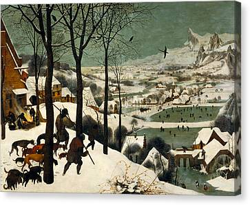 Hunters On The Snow Canvas Print by Pieter Bruegel the Elder