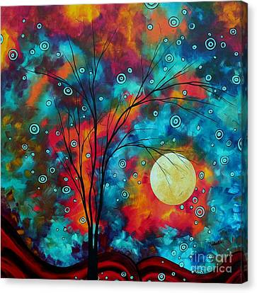Huge Colorful Abstract Landscape Art Circles Tree Original Painting Delightful By Madart Canvas Print by Megan Duncanson