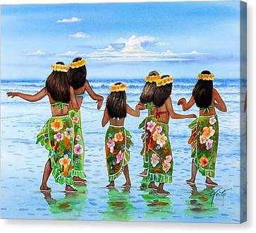 Hula Dancers Hawaii Canvas Print by John YATO