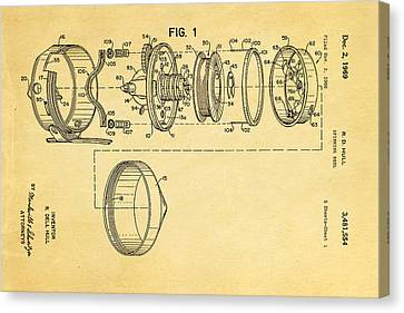 Hull Spinning Reel Patent Art 2 1969  Canvas Print by Ian Monk