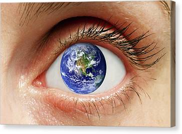 Human Eye With Planet Earth Canvas Print by Victor De Schwanberg
