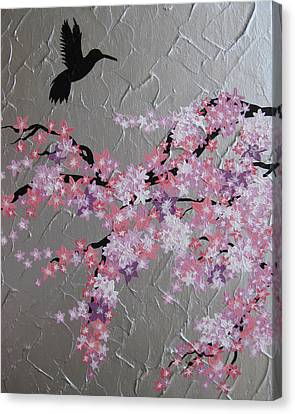 Humming Bird With Cherry Blossom Canvas Print by Cathy Jacobs