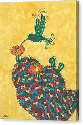 Hummingbird And Prickly Pear Canvas Print by Susie Weber