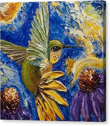 Hummingbird And Purple Cone Flowers Canvas Print by Paris Wyatt Llanso