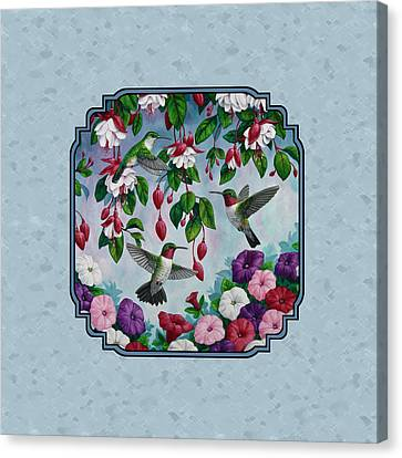Hummingbirds And Flowers Cyan Pillow And Duvet Cover Canvas Print by Crista Forest
