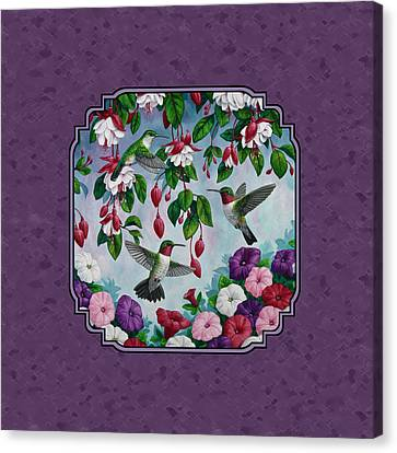 Hummingbirds And Flowers Duvet Cover Canvas Print by Crista Forest