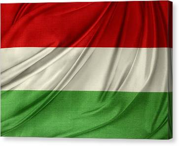 Hungary Flag Canvas Print by Les Cunliffe