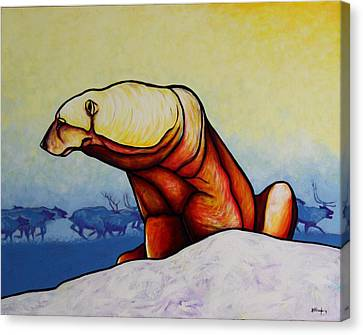 Hunger Burns - Polar Bear Canvas Print by Joe  Triano