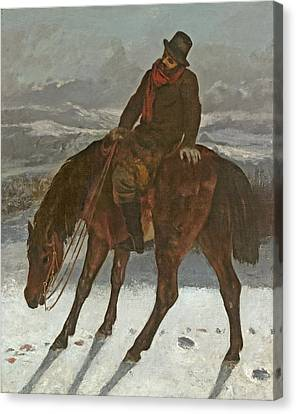 Hunter On Horseback, C.1864 Canvas Print by Gustave Courbet