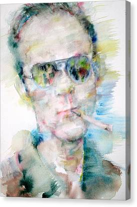 Hunter S. Thompson - Watercolor Portrait Canvas Print by Fabrizio Cassetta