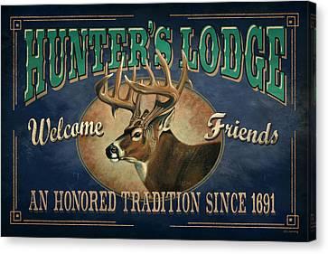 Hunters Lodge Deer Canvas Print by JQ Licensing
