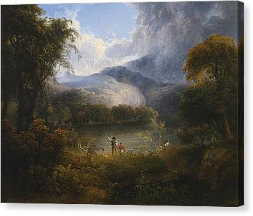 Hunters With A Dog In A Landscape Canvas Print by Celestial Images