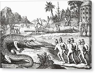 Hunting Alligators In The Southern States Of America Canvas Print by Theodor de Bry