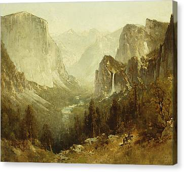Hunting In Yosemite Canvas Print by Thomas Hill