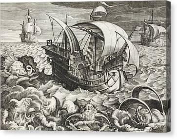 Hunting Sea Creatures Canvas Print by Jan Van Der Straet