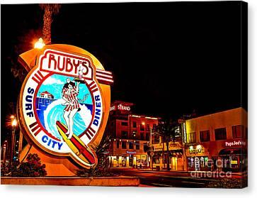 Huntington Beach Downtown Nightside 2 Canvas Print by Jim Carrell