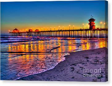 Huntington Beach Pier Sundown Canvas Print by Jim Carrell