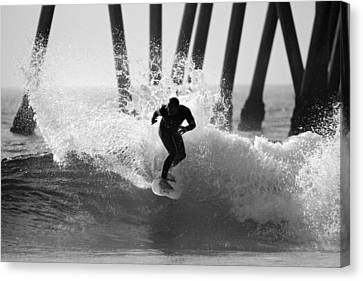 Huntington Beach Surfer Canvas Print by Pierre Leclerc Photography