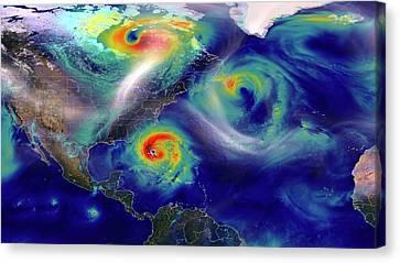 Hurricane Sandy Simulation Canvas Print by Nasa/goddard (william Putman)