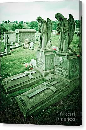 Husband And Wife Angel Gravestones Canvas Print by Amy Cicconi