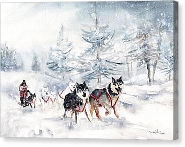 Huskies Sledge Canvas Print by Miki De Goodaboom