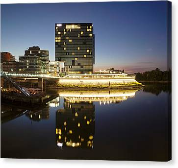 Hyatt Hotel At Dusk, Media Harbour Canvas Print by Panoramic Images