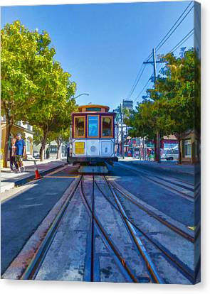 Hyde Street Trolley Canvas Print by Scott Campbell