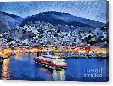 Hydra Town During Dusk Time Canvas Print by George Atsametakis