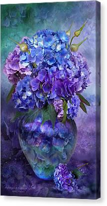 Hydrangeas In Hydrangea Vase Canvas Print by Carol Cavalaris