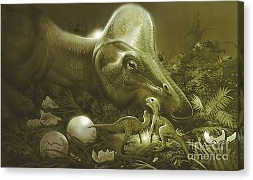 Hypacrosaurus Protecting Its Nest Canvas Print by Jan Sovak