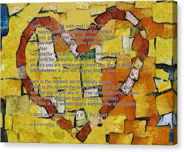 I Carry Your Heart Canvas Print by Poetry and Art