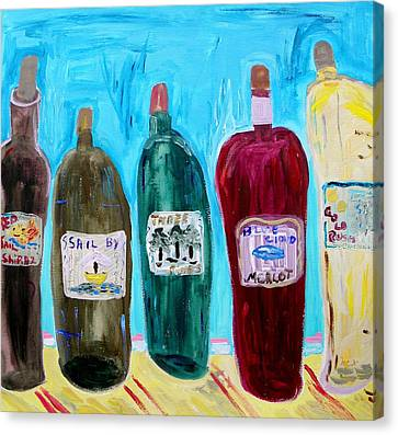 I Choose Wine By The Label Canvas Print by Mary Carol Williams