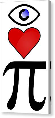 I Heart Pi Canvas Print by Ron Hedges