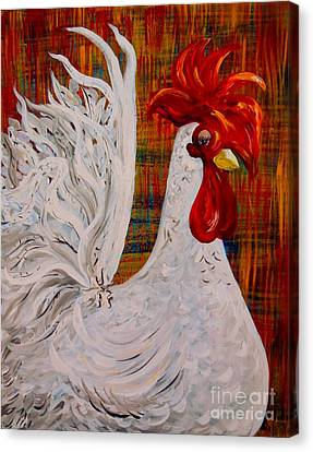 I Know I Am Lovely - White Rooster Canvas Print by Eloise Schneider