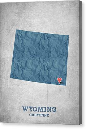 I Love Cheyenne Wyoming - Blue Canvas Print by Aged Pixel