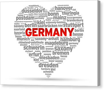 I Love Germany Canvas Print by Aged Pixel