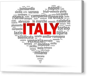 I Love Italy Canvas Print by Aged Pixel