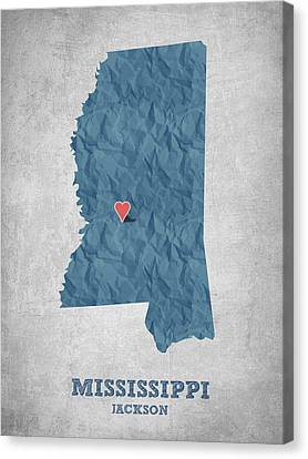 I Love Jackson Mississippi - Blue Canvas Print by Aged Pixel