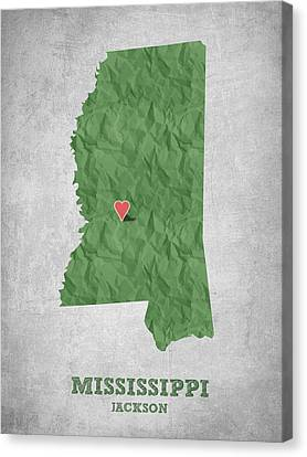 I Love Jackson Mississippi - Green Canvas Print by Aged Pixel