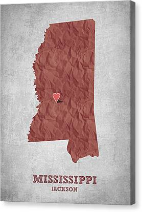 I Love Jackson Mississippi - Red Canvas Print by Aged Pixel
