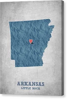 I Love Little Rock Arkansas - Blue Canvas Print by Aged Pixel