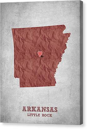 I Love Little Rock Arkansas - Red Canvas Print by Aged Pixel
