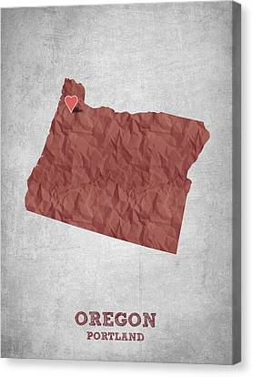 I Love Portland Oregon- Red Canvas Print by Aged Pixel