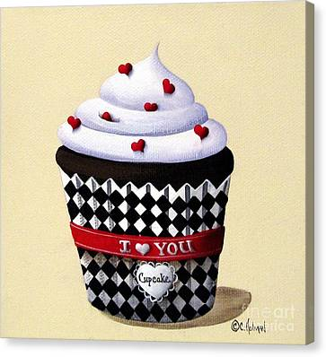 I Love You Cupcake Canvas Print by Catherine Holman