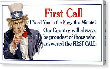 I Need You In The Navy - Uncle Sam Wwi Canvas Print by War Is Hell Store