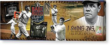 I Swing Big Babe Ruth Canvas Print by Retro Images Archive