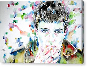 Ian Curtis Smoking Cigarette Watercolor Portrait Canvas Print by Fabrizio Cassetta